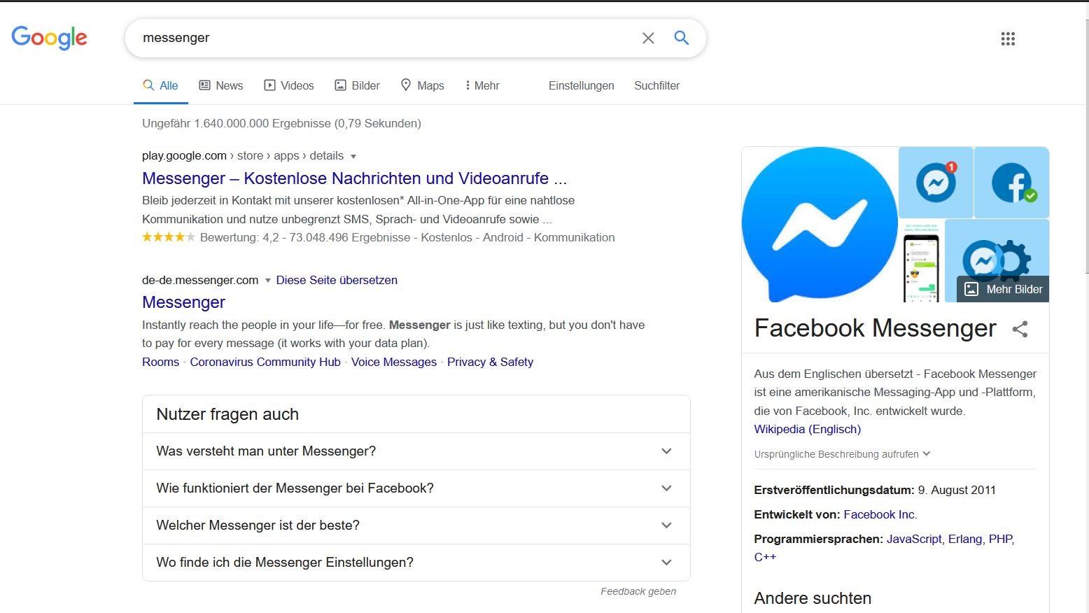 Google-Suche nach Messenger, das erste Ergebnis ist eine bescheuerte App von Facebook